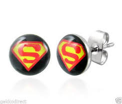 superman earrings superman logo stud earrings surgical steel ebay