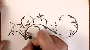 Flower Designs For Drawing Drawing Time Lapse A Simple Floral Design With Pencil Youtube