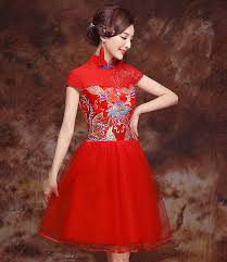 Chinese Wedding Dress Traditional Red Tulle With Brocade Corset Top Chinese Wedding