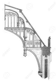 flying buttress 19th century engraving of a section of a flying buttress at
