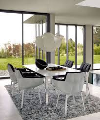 Dining Table Chandeliers Contemporary Six Black Leather Backrest Dining Chair White Shade Hanging
