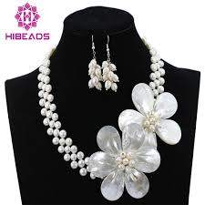 white pearl beaded necklace images Beautiful handmade white pearl beads flower necklace set wedding jpg