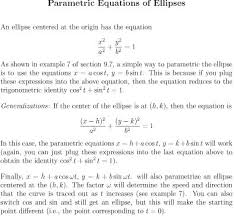 parametric equations of ellipses and hyperbolas