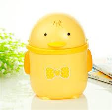 Yellow Wastebasket Buy Desktop Trash Can Creative Plastic Square Lid Lovely Fashion