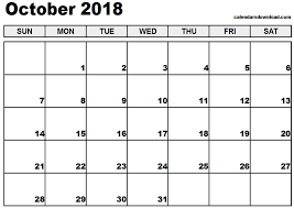 printable calendar template printable october 2018 calendar template best business template