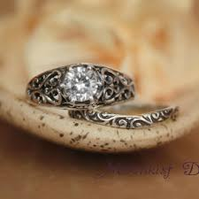 Promise Ring Engagement Ring And Wedding Ring Set by Aquamarine Edwardian Filigree Engagement From Moonkistdesigns On