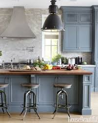 Blue Green Kitchen - a casual comfy bachelor pad masculine kitchen chelsea gray and