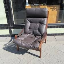 High Back Leather Armchair Sam Larsson Leather Highback Armchair Collectika Vintage And