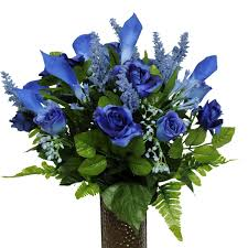 blue lilies blue and calla mix artificial bouquet