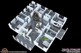 more bedroom d floor plans inspirations 3 interior kerala house 3d