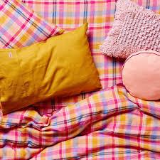 kip u0026co rainbow tartan rv ruby linen duvet cover duvet covers kids