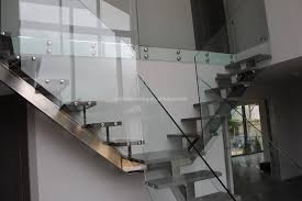 interior wooden stainless steel railing staircase glass railing