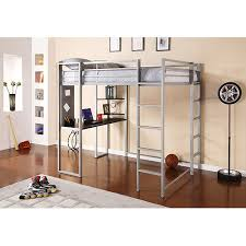 twin metal loft bed with desk and shelving adobe full metal loft bed over workstation holds up to 300 lbs