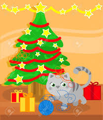 Cat Climbing Christmas Tree Video Christmas Tree And Cute Kitty Cat Playing With Wool Ball