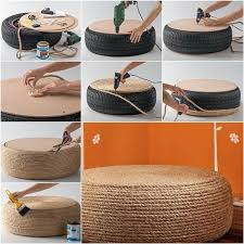 Build An Ottoman How To Diy Rope Ottoman From Tire
