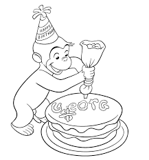birthday curious george coloring pages cartoon coloring pages