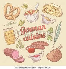 cuisine en allemand cuisine porc allemand griffonnage illustration