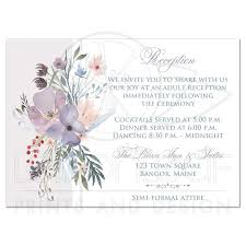 Wedding Invitation Insert Cards Bohemian Wildflowers Wedding Reception Card Smoky Blue Plum