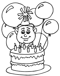 birthday coloring page a seven year old with his cake