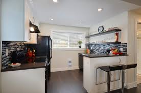 basement kitchen with black barstools kitchen contemporary and