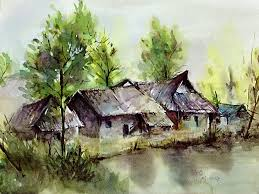 drawn scenery water colour pencil and in color drawn scenery