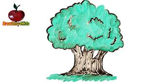 Oak Tree Drawing How To Draw An Oak Tree And More Trees For Kids Drawing On A