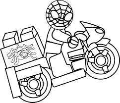 spider man lego driving bike coloring page wecoloringpage