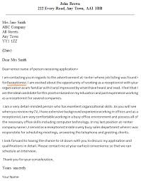 crafty inspiration cover letter receptionist 6 best legal examples