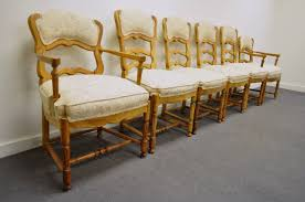 six french country style carved and upholstered ladder back dining