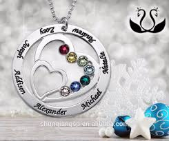 Birthstone Name Necklace Heart Pendant Birthstone Necklace My Name Necklace Yiwu Hengbiao
