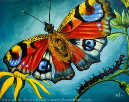 peacock butterfly painting by renee keith renee sarasvati