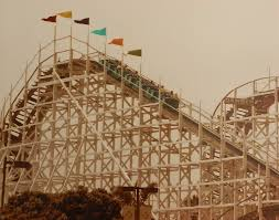 vintage photo fo the big dipper wooden roller coaster the big