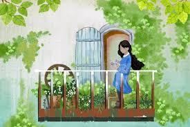 blumen fã r balkon illustration für kinder das junge mädchen bleibt in ihrem balkon