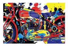 wall art home decor triumph vintage motorcycle pop art print