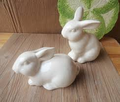 shop shipping two white porcelain rabbit small