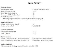 Example Of Resume For Students In College by Sample College Resumes For High Seniors 1 Example Resume