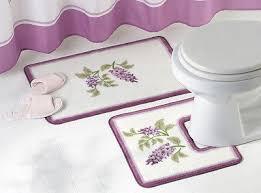 purple floral wisteria flower bathroom rug set decor in home