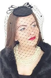 funeral veil black widow womens black handmade hat fascinator headpiece