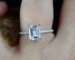 sapphire emerald cut engagement rings emerald cut sapphire etsy