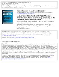 Applications Of Colorimetry In Analytical Chemistry An Overview Of The Kjeldahl Method Of Nitrogen Determination Part
