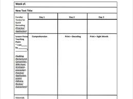 weekly lesson plan template 10 free sample example word study
