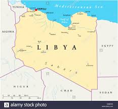 Map Of Mediterranean Sea Libya Political Map With Capital Tripoli Arab Country In The