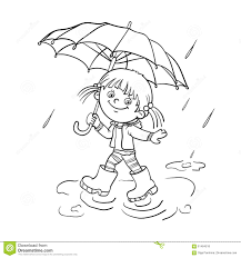 coloring page outline of a walking in the rain stock vector