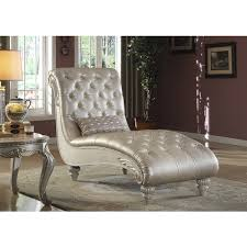 Armchair Chaise Lounge Meridian Marquee Pearl White Crystal Tufted Chaise Lounge Found On