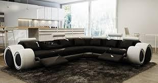 canape d angle noir d angle design cuir noir et blanc relax oslo droit
