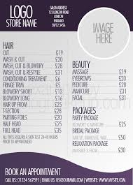 hair salons jc penny price list beautifully designed menus and price lists for salons salon