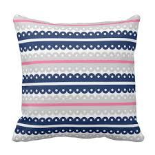 navy blue lace ribbon navy blue pink gray lace ribbon stripe pillow zazzle