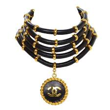 vintage leather choker necklace images Chanel rare collectors vintage 39 89 gold and leather choker jpg