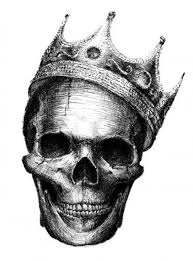 stunning black and white smiling skull with crown