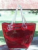 Murano Glass Purse Vase Murano Art Glass Purse Vase Flowers Millifiore Hand Blown Mint